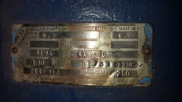 6X4X10 Gould's 3196 steel pump