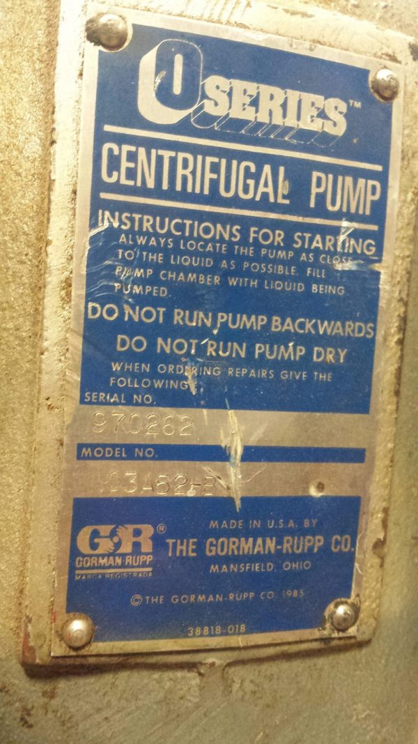 "3"" Gorman Rupp self priming 03A52-B Used"