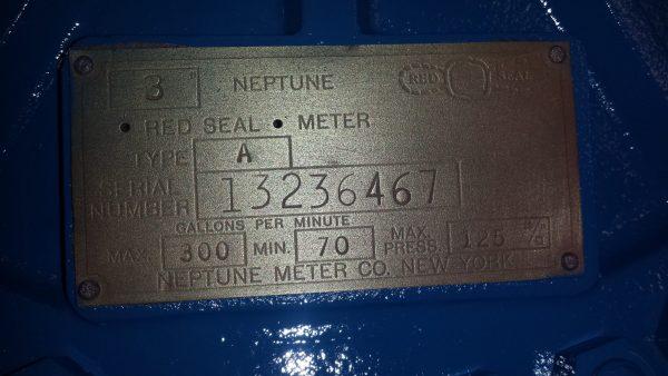 "3"" Neptune meter type A steel rebuilt"