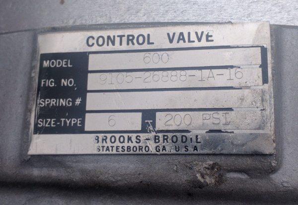 "6"" Brooks Control Valve Model 600"