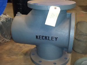 "Keckley 8"" Iron Inline Strainer, basket included."